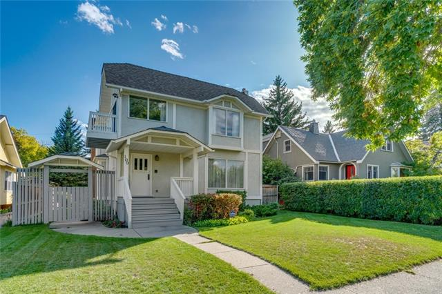 This lovely 2388+ sq. ft, 3+1 bedroom family home in sought-after Scarboro boasts city views & is nestled on a 50x125 ft mature treed lot steps from acclaimed Sunalta School, trendy 17th Avenue shopping & dining and just a short commute to the core. Offering both curb appeal & a bright & open floor plan with an abundance of windows & oak hardwood floors, formal family room with built-ins & ornamental fireplace, spacious dining area beside the kitchen. Living room with gas fireplace & provides access to the south-facing back yard. Kitchen with breakfast nook surrounded in large windows & also provides access to the private deck. Space for a home office & 2 piece main bath complete this level. The upper level features a bonus area with skylight, 3 bedrooms including the master suite with sitting area, walk-in closet, 5 piece ensuite with jetted tub & access to a private balcony with downtown views ? perfect spot to enjoy a book & a 5 piece main bath.