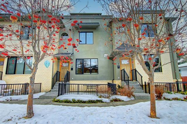 UNREAL PRICE! This trendy, newer townhouse (2013 completion) in Parkdale (ORIGINAL OWNER) is steps to bike paths, the river, & close to DT. This upgraded home throughout has it all! The main level has a cozy living room w/ gas fireplace, mounted TV & surround sound system. Kitchen area has large quartz island, SS appliances, & hardwood floors. Dining area has wallpaper feature wall, built-in buffet station (upgrade), powder room (wall paper), & built in wall cabinets for a pantry (upgrade). 2nd level contains guest bedroom w/ walk in closet & 4 piece bath. Additional room (no window) could be 3rd bedroom or den. Mechanical room & laundry on this level. 3rd level has master bedroom. Large in size (king bed + furniture), walk in closet (8ft x 6ft) & spa like ensuite. Dual sinks, quartz counter tops, walk-in shower & soaker tub. Gas fireplace w/ tiled wall (upgrade) & entrance to patio w/ downtown views! Large ground level patio that's gated & underground parkade w/ storage locker. SUPERB OPPORTUNITY!