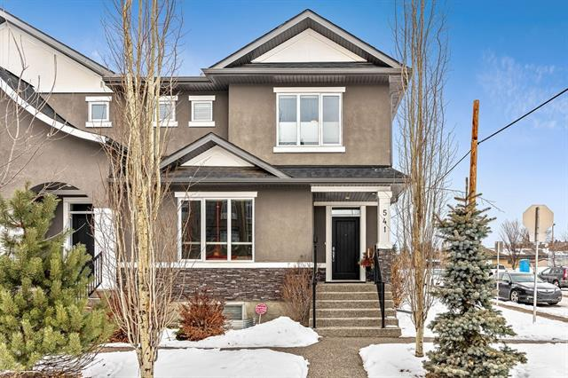 Beautifully landscaped & maintenance-free, this CUSTOM built, executive style,CORNER TOWNHOUSE in the heart of Parkdale is a MUST SEE. Main floor features a gorgeous entryway w/dbl doors, spacious lvg rm w/linear gas FP w/flr to ceiling stone surround, storage closet & tucked away 2 pc bath. A chef's delight kitchen features upgraded SS appliances (fridge w/ice & H20, dishwasher, gas cooktop, double ovens), gorgeous white cabinets & ceasarstone countertops, walk-in pantry & large dining area. Upper level has a master with huge walk-in closet & ensuite w/spa soaker tub. 2nd lrg bdrm w/walk-in closet, 4pc bath & lrg laundry w/full size washer/dryer. Upgraded w/Hunter Douglas top-down bottom-up window coverings. Excellent location flooded w/sunshine on a quiet street. Gas h/up for BBQ. Full, unfinished basement w/RI plumbing. Incredible location close to cycling/walking paths along the Bow River. Close to Foothills Hospital and quick access to all amenities.Easy access out of the city to the mountains.