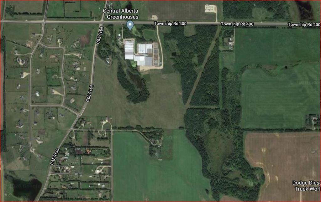 127.48 acres possibly being subdivided from 1/4 section. Located within town boundaries of Blackfalds - in the North end. Excellent farmland with development opportunities. Greenhouse are possibly being subdivided from this listing but are also available for sale.