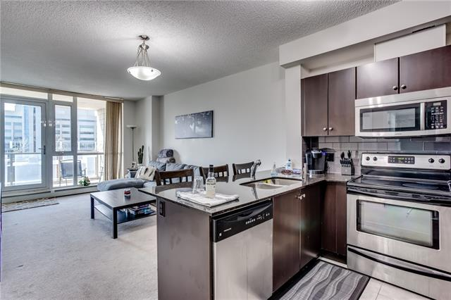Look no further - this is the East Village buy you have been waiting for. This unit is spacious, well laid out, offers a large balcony & has everything you need to make the most of your downtown lifestyle. High ceilings and big windows give this unit a bright and open feel. Stainless appliances( including a new range) , granite counters and an eating bar make the kitchen stylish and functional. The living area is open to the kitchen and provides space for all your guests and a quiet place to relax. The master is large and easily fits your king bed and the rest of your bedroom furniture. The high ceilings continue through the master to the 4 piece ensuite bath. The addition of a den gives you a place to work from home or will provide flexibility as a nursery or hobby room. The private south facing balcony is perfect for your morning coffee or a bbq feast. Rounding out the building is a fitness facility and a full time concierge!