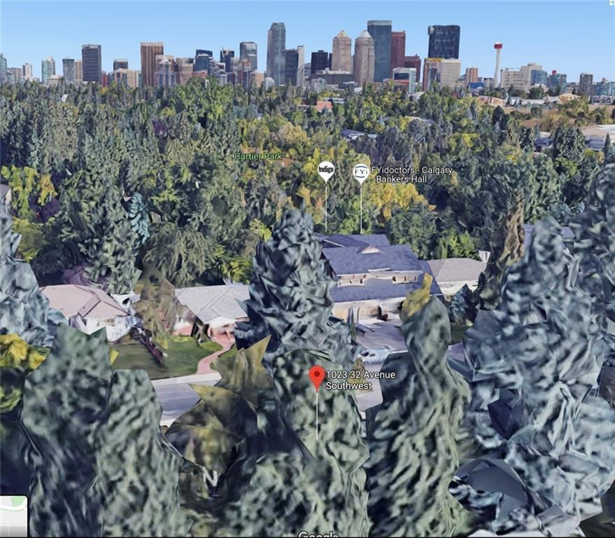 Upper Elbow Park land for sale. This 5,264 sq.ft north facing building lot has a frontage of 52 ft, a depth of 104'6 ft on the west and 98'5 ft on the east. The site has potential panoramic city views and is flat making it an ideal choice to build your forever home. There is no back lane, meaning your design must include an attached garage, a feature not so common but highly desired for inner-city. As there will be no detached rear garage, your backyard space will be larger than normal, is south facing allowing for plenty of sun, and has various mature trees that can likely be preserved. The projected building envelope floor plate area is 2,931 sq.ft, meaning your total above grade square footage without any relaxations could be as high as 5,862 sq.ft  (including main floor garage), plus basement. Located on the west portion of the future subdivided lot at 1023 32 Avenue SW. A quiet street in the prestigious community of Elbow Park and not in a flood plain. A piece of dirt that dreams are made of. This piece of land could be developed for you and a home built by Honeyycomb Developments, although you could bring your own builder to build as well. Honeyycomb Developments is prepared to build a luxury home of 3,500SF for $3.2M including GST, which would include the land