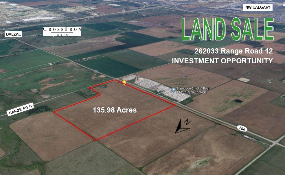 INVESTMENT OPPORTUNITY OF 135.97 ACRES BORDERING THE CITY OF CALGARY. PRICED AT ONLY $47,069 PER ACRE IT IS STRATEGICALLY LOCATED ON THE CORNER OF HIGHWAY 566 (BALZAC HIGHWAY) AND RR 12 ( 1/2 KM EAST OF CENTRE STREET). IT HAS CITY VIEWS AND GREAT ACCESS TO HIGHWAY #2 (2 MINUTE DRIVE). THIS IS A SOLID INVESTMENT OPPORTUNITY FOR RESIDENTIAL OR INDUSTRIAL PROPERTY DEVELOPMENT AS THE LAND IS POISED FOR CALGARY AND AIRDRIE'S FUTURE EXPANSION. THERE ARE AN ADDITIONAL 140 ACRES (1/4 SECTION) TO THE NORTH AVAILABLE IF SEEKING A LARGER DEVELOPMENT SITE. OLDER HOME IS ON THE PROPERTY. THERE IS THE POSSIBLY OF ROCKY VIEW WATER LINE RUNNING ACROSS THE SOUTH PROPERTY BOUNDARY (TBV).