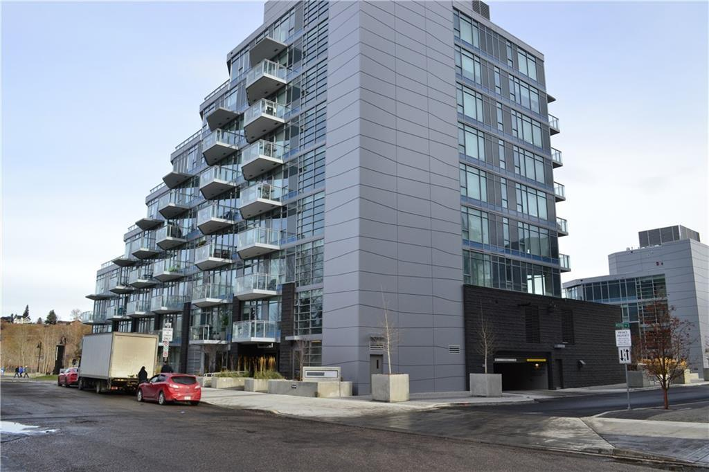 Live & play right on the river - luxury unit is located steps to Eau Claire, Prince's Island Park, & Downtown Calgary. A one bedroom + den featuring an open concept floor plan, loaded with luxury finishes including furniture ,Bloomberg fridge & dishwasher, built in oven, faucets & taps, both quartz & natural stone counter tops, custom cabinetry, engineered hardwood flooring, & more! The elegant neutral color palette is sure to compliment any decor style. The kitchen offers a spacious raised eating bar, and is open to dining & living room lined with large west facing windows for abundance of natural light. Master bedroom with cheater en suite, a den perfect for home office, spa inspired 4 pc bathroom, & in-suite laundry. The spacious patio is to be professionally landscaped and offers RIVERSIDE VIEWS. Park side West is a luxury development w/ its own private concierge, gym, and parkade separate from the other buildings. Includes secured underground parking, & storage unit.