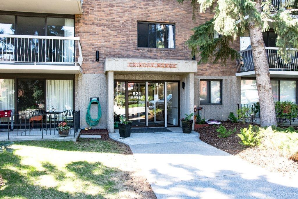 3rd floor corner unit is located one block north of the Chinook Shopping Centre, close to public transportation & the LRT.  Enjoy the large south facing outdoor patio & the expansive windows for natural light in the living room & dining room.  The well equipped kitchen features beautiful oak cabinetry, under cabinet lighting & a built in sit up eating area. The spacious master bedroom includes a closet with built in shelves & 2 piece ensuite. The second bedroom is equipped with a built in wall/desk unit & is large enough to function both as a bedroom or as an office.  The storage room beside the entry foyer features built in closet and shelving.  The building has amazing amenity rooms including recreation room with kitchen, billiards room, hobby workshop, & exercise room.  The storage room beside the entry foyer is the ideal location for in suite laundry as it is situated near the necessary plumbing and electrical supplies.  In suite laundry allowed with condo board approval.  Age restriction 40+.