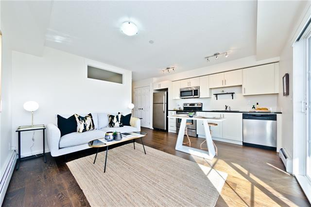 SELLER WILL PAY 3 MONTHS OF CONDO FEES!! An amazing opportunity to own this bright and modern apartment conveniently located in Copperfield offering easy access to all the amenities, shopping and eateries of 130th Ave, McKenzie Towne and Mahogany Village Market. This functional floor plan offers in-suite laundry, full 4 piece bathroom with subway tile and granite countertop, generous sized bedroom with double pocket doors, double closets adjacent as well as space for a desk. The living and kitchen area are open plan and come with stainless steel appliances and granite counters keeping all the finishings consistent, and offers access to the south facing balcony with a gas hook up for a BBQ. This stylish abode has wide vinyl plank flooring, fresh paint and comes with a titled parking stall, a storage unit and is a mere 10 mins commute to the South Campus Hospital, 35 mins to YYC and offers easy access to Deerfoot and Stoney Trails.