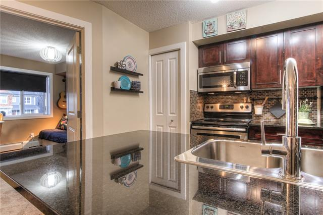Welcome to absolutely gorgeous 2 bedroom, 2 bathroom unit. These unit comes completely furnished, with art and décor. As soon as you walk in, you will be greeted to spacious foyer which leads to spacious dining area and kitchen nook. The contemporary kitchen cabinets are  raised to the full heights. Unit offers granite counter tops throughout, stainless steal appliances and full-size stacked washer/dryer. Laundry/ storage room is tucked away at the back of the kitchen for extra storage. The SW exposed deck is very private and functional for entertainment. Bedrooms are on opposite sides of the unit for extra privacy. Generous size of master bedroom will impress you with huge shower in the master ensuite. These unit has underground titled heated parking. Community has quick access to Macleod Tr, Stoney Tr, Deerfoot and South Health Campus, schools, shopping and restaurants.This unique apartment has it all. Style, functionality and convenience. Don't miss the opportunity to own these beauty!!!