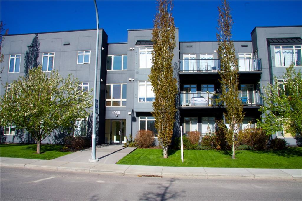 Spectacular condo living in the heart of desirable Killarney, one block from 17th Avenue! This condo has everything you could be looking for; tons of living space, 2 bedrooms, 2 full baths, underground/heated parking, secured storage & beautiful taste displayed in every detail! Come home to beautiful new flooring throughout, open concept kitchen/living/dining spaces, 9? ceilings, stainless steel appliances, deep-chocolate cabinetry & granite countertops in the kitchen. The many windows keep this unit flooded with natural light and cool breezes. Large master suite with huge walk-in closet and full ensuite bath, neutral paint colours, and modern finishing. Enjoy your private patio?s unobstructed view to the park. This building is well managed & you cannot beat this location, across from a park & just steps to shopping, restaurants, night-life, all amenities of 17th Ave, LRT, and a quick commute to downtown. This home is immaculately cared for and shows like a show home, the photos do not do it justice! Welcome to the Torino Condominiums -- a cut above the ordinary. Everything is first class.  Here are other features included: 100 sq ft patio/deck with glass railing, in suite laundry, hot water in-floor heating, spantex knockdown ceiling, 4? baseboard, chrome hardware, full height porcelain tile back splash, and stylish dark maple cabinetry. Upgrades include new flooring, new fridge 2018, and new washer/dryer 2017. New to the condo includes 24-hour video surveillance and cage storage for each owner in underground parking ? in secured room. The condo is completely pet friendly. Any size, but does require board approval but has never been an issue. With main floor location, it?s an excellent property for pet owner (park across the street). There is also an abundance of on street parking  due to park. LRT is a 10 minute walk (5 blocks away). It doesn?t get much better! ALSO  - will consider all furniture to stay.