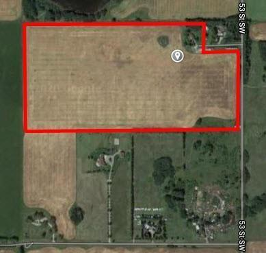 75 acres of Future development land in the newest community of Providence in the SW corner of Calgary. Located 1/2 mile north of Hwy 22x on 53 St W. Currently farmed by the owner. Comes with excellent bungalow home complete with double attached garage.  Basically located on the main corridor of the community , 162 Ave SW, and starting at 53 Street and extending west for 1/2 mile. A cell tower company is currently leasing a small site on this land. This is a short to medium hold investment property with farming income, house rental and cell tower revenue.