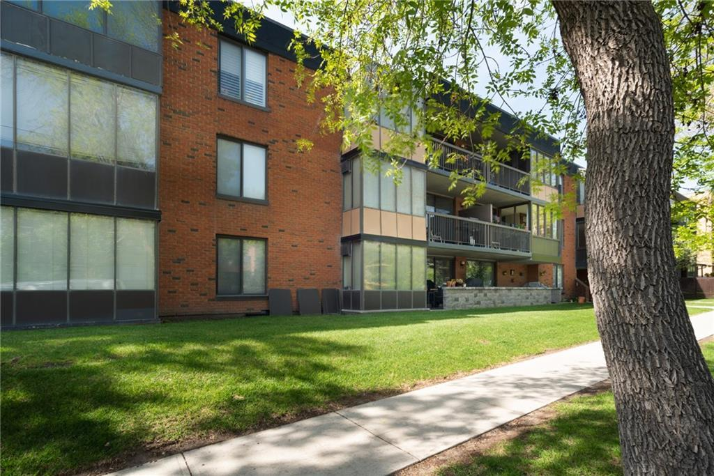 Charming top floor, corner unit, located in the desirable community of Crescent Heights! Walking distance to downtown. This quiet concrete building is situated on a beautiful street, just a stroll away from Rotary Park, tennis courts, lawn bowling, walking trails overlooking downtown and river pathway. If you are looking for natural light, this unit won't disappoint! Skylights and a large solarium (new triple pane windows) bring in lots of light to this 1 bedroom, 1 bath unit. Enjoy the sun on your South facing balcony with views of downtown! Cozy up to your wood burning fireplace (with log lighter) in the winters. Whatever mother nature throws at Calgary, your car will be safe and sound in the heated underground parkade.