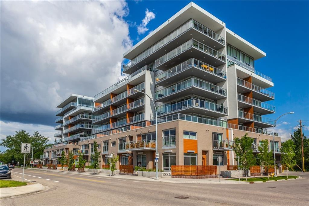 Welcome home to true inner-city living! Modern elegance and conveniences galore! This 1 bedroom unit in Ezra on Riley Park was built in 2017, boasting an enviable Hillhurst locale..backing on to beautiful Riley Park..so close to eclectic Kensington shops, restaurants and pubs..easily walkable to downtown..near SAIT..minutes to Sunnyside LRT..schools..the Bow River and pathways..the list just goes on and on! The unit itself offers nearly 11 ft.ceilings in the great room...and over 9 ft.ceilings throughout remainder. Huge south and west facing windows with roller shades, engineered hardwood in great room, carpeted bedroom, high gloss soft-close cabinetry in kitchen and bathroom, rain showerhead and soaker tub plus ceramic tile floor in bathroom, glass tile backsplash, quartz countertops,  gas stove/electric oven, Blomberg integrated  panel refrigerator, full size front-load washer/dryer, 105 sq.ft. inviting south-facing patio with gas hookup, titled indoor parking (065) and additional storage locker(004). Additional benefits to calling Ezra on Riley Park home?? There is both a FRONT and BACK door to unit, a garbage chute, and dual elevators.Also, there is nightly security personnel on duty...commencing work later in evening until early am. There is a fitness facility on site...and also both a social and overnight guest room! Check out ezraonrileypark.com for more info. Come take a look...it's an absolutely tremendous complex and location to call home!!