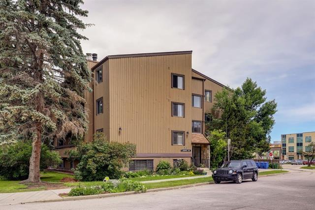 Seller will pre-pay your condo fees for 6 MONTHS!  Looking for a condo with SIZE and POTENTIAL?  This 2 bed 2 bath unit is located in a quiet cul-de-sac in one of Calgary?s trendiest neighbourhoods.  If you have been looking for the right condo to make your own this property has incredible potential: Quiet street, walkable to Kensington avenue and downtown / bow river pathways, two HUGE bedrooms, two bathrooms and an open concept design that features a wood burning fireplace, eat up island with newer cabinetry & stainless steel appliances, tons of space for a large dining table including all living room furniture. The extra long private balcony faces west & runs the length of the condo which allows the master bedroom access through patio doors as well.  This is a perfect opportunity for a condo buyer that wants a private location in a low rise building and the chance to put their own mark on their unit, as a few modest renovations would make for a spectacular home. Covered parking!