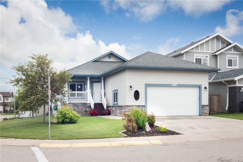 This bungalow, situated on a fantastic corner lot in the community of Sunset, is across the street from the park and comes with 2 garages!  There is a mix of hardwood floors and carpet on the main level with the  kitchen and living room flowing on to each other all accented with a natural gas fireplace. Also on the main level, the master bedroom and 4 pcs ensuite with walk in closet, office/den, another full bath, and a mudroom with laundry just off the oversized attached garage. The basement is perfect for relaxing and hosting with the wet bar as the centerpiece of this space. Also, downstairs, two more large bedrooms, plus another full bath. In the backyard, a two tiered deck with a view of the park, leads you to the single detached garage (heated) as well as another storage shed! This location and lot is a must see!