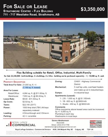 **Reduced** For Lease/For Sale Marketed in conjunction with 711 Westlake Rd 21,000 Sq FT Flex Building suitable for Retail,Industrial, Car Wash (No Equipment) and  Multi-Family (3 x Apartments) WONDERFUL OPPORTUNITY FOR EITHER OWNER OCCUPIER OR INVESTOR.Brand new roof installed 2013