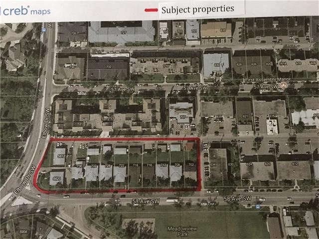 The subject site is located in Calgary, Alberta in the community of Windsor Park, within walking distance of Chinook Shopping Centre, public transit, and just accros the street from Meadow View Park. This site contains 11 contiguous city lots with 167 meters (547 ft) of frontage on 58th Ave SW. There are 11 duplex structures on the lots ( 8 SxS and 3 U/D). Most of these buildings have detached garages in the back.There are a total of 40 rental units on this site which generate a monthly income of approx 45k. The current Zoning is MC-2. with 2.5 F.A.R guidelines. Call lister for details and brochure containing more detailed information on development by law and development potential, as well as more detailed info on rental revenue. Note - None of the lots will be sold separately.