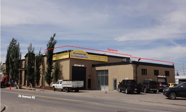 Centrally located on Edmonton Trail and 36th Avenue NE.  5,547 SF of Office/Showroom/Warehouse with two (2) drive-in doors , 200 Amp power (TBV), One ton crane, illuminated sign, ready and waiting for you to move in.  Zoning C-COR3.