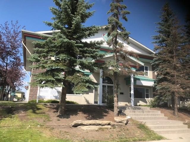 This uint is approximate 980sq foot on main floor and about the same on second floor. 2 Pc wash room on the main.  Could be used by 2 seprate tenants. There are 2 offices, Board Room, Storage Room, Waiting Room  & Kitchen on the second Floor. Currently used as an office.