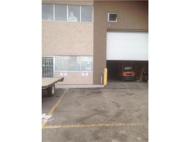 Great Location close to the Airport,Deerfoot and Downtown.Warehouse with Front Drive in Dock. High ceiling warehouse with 22 ft high ceiling.Large space . Rear door too for escape. Stairs from warehouse leading to the mezzanine office from the warehouse. Mezzanine for office space with washroom with outside door. Lots of Parking. Lease rate of $9.00 per sqft plus, $5.00 per sqft common area that includes Heat and Water.