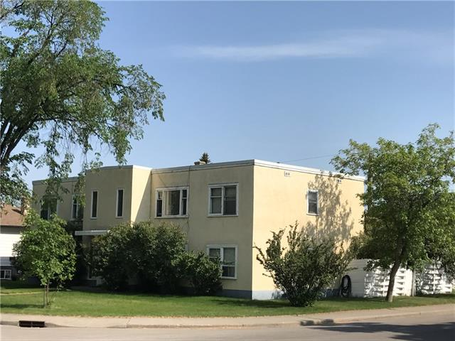 Great location, land and rental building.  75ft x 120ft south backing corner lot in West Hillhurst.  This is a legal 4 plex with all 4 units fully above grade.  Each unit has a front and rear door and each unit has 2 bedrooms + 1 full bath.  Upper units are 866ft and lower units are 840ft.  Each has a living room, kitchen and own separate laundry.  Nice floor plans.  Many possibilities with this property (continue as a rental, upgrade suites, hold, redevelop).