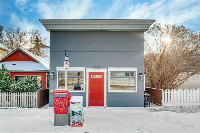 """Incredibly rare opportunity! Stand alone Live/Work unit supremely located in vibrant Ramsay. Nestled amongst residential homes, schools, Scotsman's Hill, Elbow River paths & Stampede Park. This historic (1910) """"Corner Store"""" has a Direct Control land use intended for a Convenience Store but Home Occupation Class 1 is permitted and Class 2 is discretionary. The residential component of this fantastic offering includes 4 bedrooms, a living room, kitchen, laundry room, utility room & 4 piece bath. The commercial component includes a retail floor with loads of natural light on the main level. Below are 2 offices and a 3 piece bathroom (with shower). This property has been carefully upgraded with all new electrical, a firewall separating the commercial and residential components, 2 brand new furnaces and hot water tanks. There is even a lovely south facing garden  and parking pad large enough for at least 3 cars. An opportunity like this, without condo fees doesn't come often, book your showing today!"""