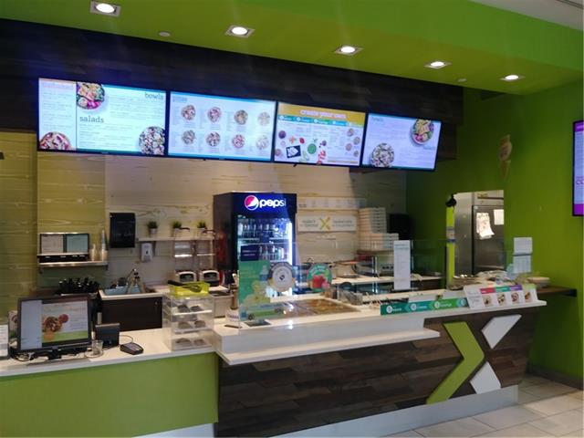 Excellent location, in the heart of downtown, second floor food court. This famous franchise is easy to operate, ideal for a family to take over. This Canadian based franchise chain serves sandwiches, salads and pizza style ?flat baked? pitas, available ingredients include fresh vegetables, cheeses, meats and vegetarian. The pops and juices also bring in great profit. Low rent $4,952/month including everything. 1 assigned underground parking and storage. New owner may change to a different business on the approval of the landlord.  Great potential.