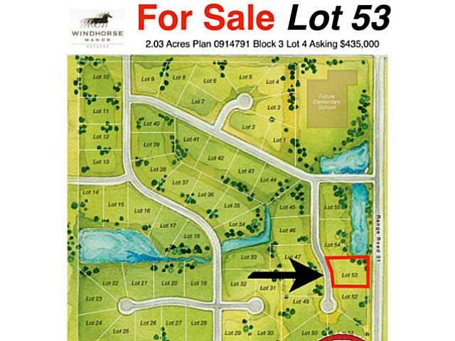 Court Ordered Sale ! Bring your own builder and build your dream home on this fantastic 2.03 acres in Springbank. The Windhorse community is the next up and coming area and surrounded by several multi-million dollar neighborhoods. Our understanding is that services are to the lot line and you can install tank and field for septic. Located within MD of Rockyview.  Conceptual plans for community available. Some multi million dollar homes already constructed. Great opportunity. Schedule A required with offer. Allow 2 weeks for accepted offer to go thru Courts.Price does not include GST.