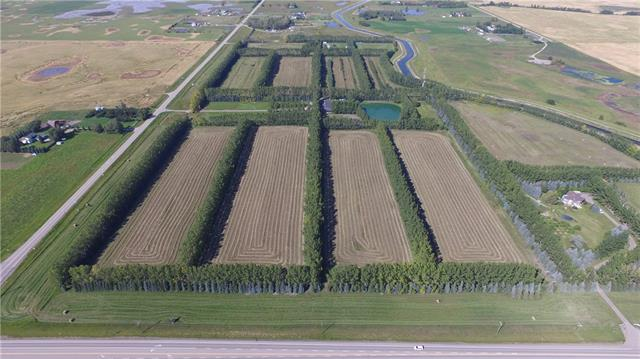 Welcome to this 83.56 acre parcel - loads of potential for farming or development. 4,000sf Agricultural retail building with a 1,600sf home on north side of property. Paved road to main building.  Cell Tower lease in place (Telus) with income.  Natural gas to each building plus (2) water wells and (2) septic fields.  3 phase power brought to site for each building.  Irrigation system with water rights from canal, and located on two Provincial Highways; access from Highway 791 and Glenmore Trail.  Lined & divided by Poplar trees.