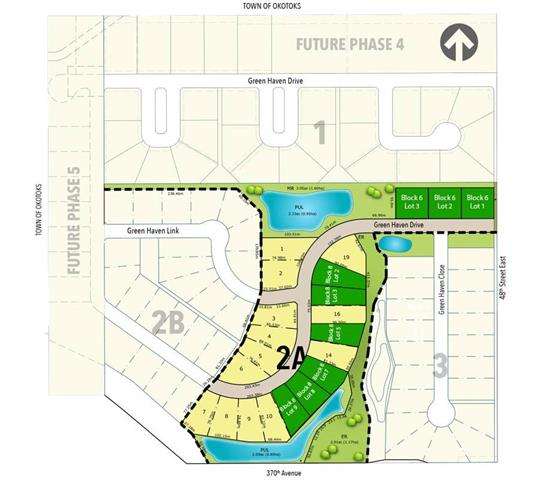Located in the Okotoks area in the community of Green Haven Estates. There are currently 8 lots left in phase 2 of this development. Bring your own builder subject to developer approval or one of the approved builders are available in designing and building your dream home. Green Haven offers countryside living with accessibility to urban amenities. Just a short distance away, you will find local shopping, health services, golf courses and many more amenities. Experience exclusive beauty with panoramic Rocky Mountain views. *Available lots are highlighted in green*