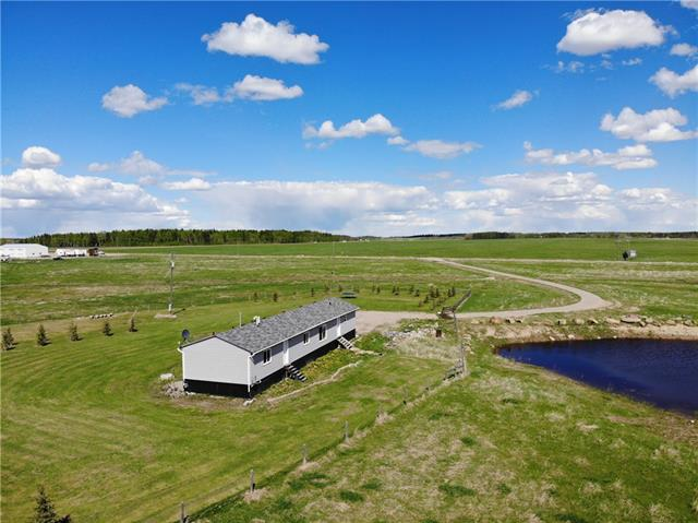 Very Clean and tidy, 3 bedroom, 2 bath modular, located 15 minutes north of Sundre, situated on a nice open 124 acre parcel of land with $4200 revenue, 1//4 mile off of pavement. The 2013 home has a large open kitchen-living area with cathedral ceiling, Master bedroom has full ensuite bath and walk in closet. Spacious laundry and mud room, two more bedrooms and another full bath complete this family home. The land has 20 acres cultivated waiting for the new owner to plant what they desire, the remainder is currently pasture.
