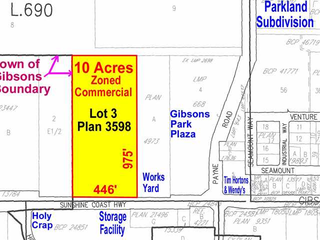 Prime 10 Acre Commercial Development Site on the main Highway in Gibsons. Zoned Commercial - 5. Zoning allows retail, wholesale, gas station, office, neighbourhood pub, tourist accommodation, moving & storage, and light industry. 446' of frontage & 975' deep. The property is on the Town of Gibsons sewer system. High traffic & high visual exposure site. Virtually level land with gentle slope to the highway. Bring your plans and ideas, opportunity abounds on this unique property. Previous use was residential.