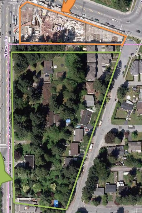 BUILDER$ - DEVELOPER$ - INVESTOR$ - This 21390 SF (0.49 acre) is 90'W x 237'S x 90' E x 237' N is opposite Safeway Coquitlam & just a 6 to 7 minute to walk to Coquitlam Centre. Future Development for a Commercial/Residential Mix to 6 levels. House rented and well kept 3 bdrm /1.5 bath rancher, approx 2200 SF. Walking 5 min to Evergreen skytrain station.