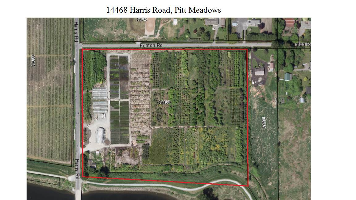 New on the market!! Pitt Meadows Acreage! This spectacular 25.33 level, fertile acreage is being sold as part of a 108 acre, 4 title parcel, currently in Nursery production. City water, 3 phase power, 42'x96' Quonset shop c/w water & power, lunch room, 6 - 20' x 96' detached Poly greenhouses. 2 road frontages. 900 sqft old timer home currently tenanted. Spectacular setting to build your new home & out building. Call LR for info package and details.