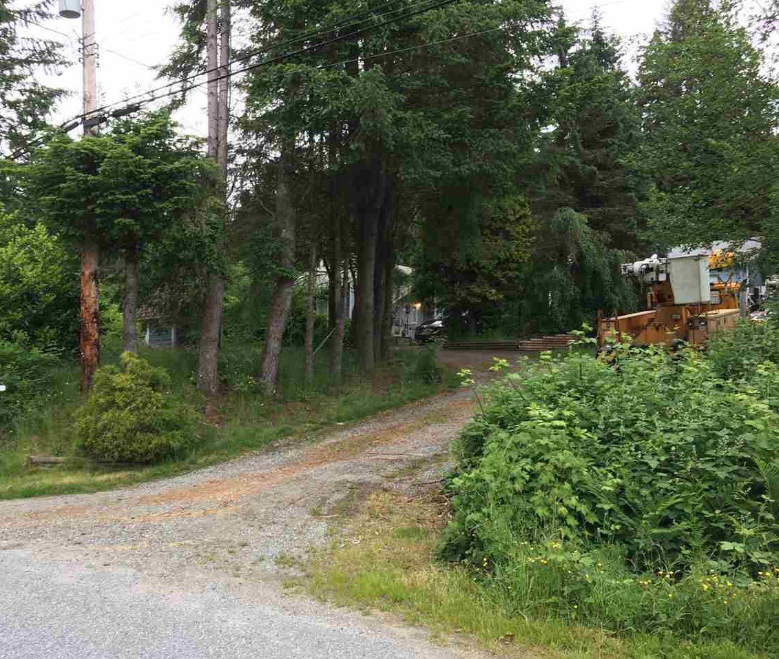 4.75 Acres. Beautiful treed and sloped lot with terrific upside. Old timer home needs TLC.