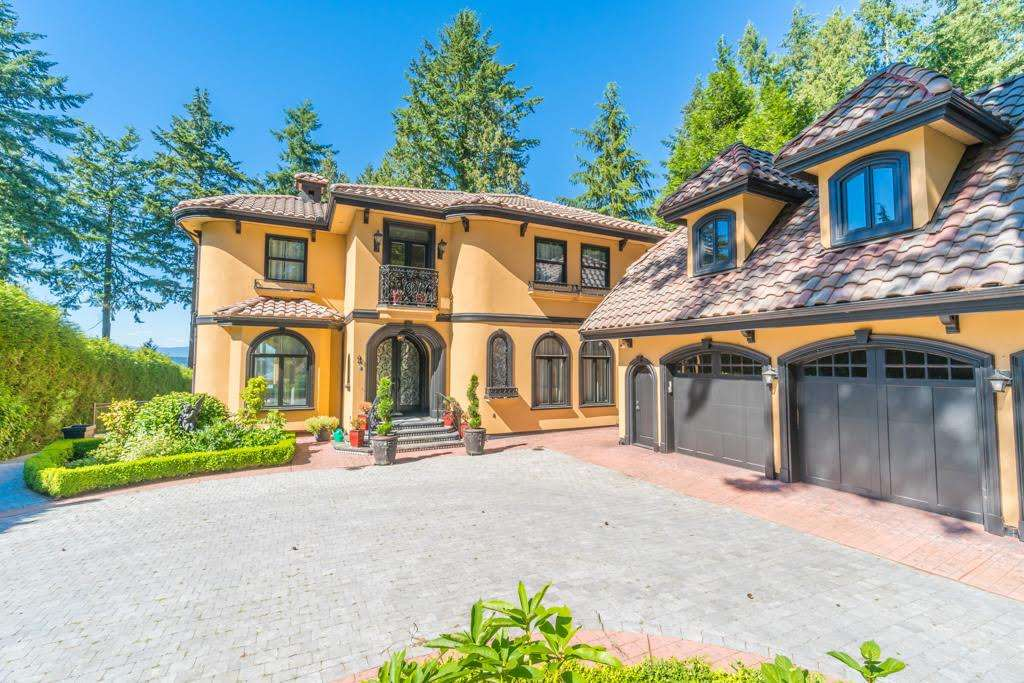 High quality custom built waterfront house with 7,844 sq ft, located at one of South Surrey's best locations, overlooking water & Mountains. This Tuscan Style home is on a 29,833 sq ft LOT. Home offers a gourmet kitchen with top of the line appliances, walk-in pantry, master with  his & her's ensuites & dressing room, outside entertainment area, art movie theater, wine cellar, pool table room,  GYM, 3 car garage & coach house and more.
