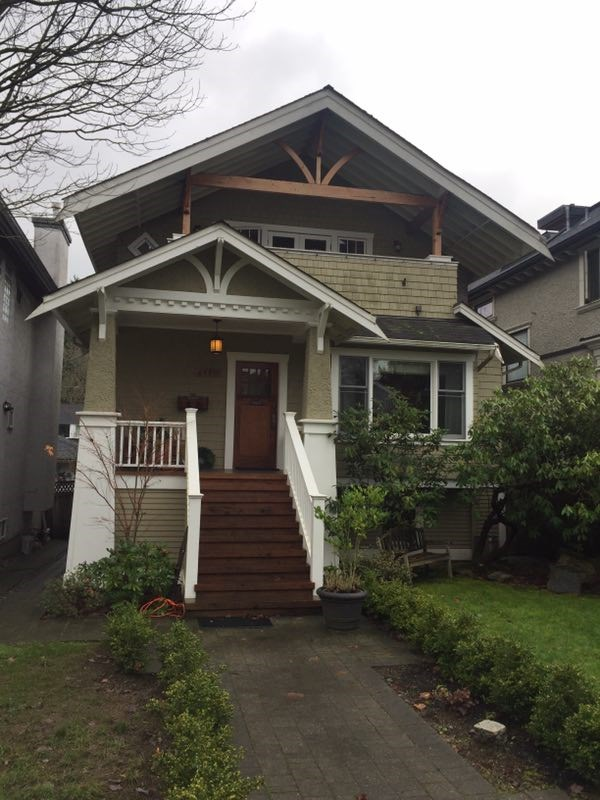 Arts and Crafts style home on prestigious West 8th Ave. Lovingly renovated over the past 13 years including second floor addition (w/permits) - gorgeous master bdrm, (ensuite with claw foot tub and heated floors) and adjoining VIEW deck. Main floor has a great room style Family room, den, and Kitchen with stainless steel Bosch, double wall ovens, 5 burner cooktop, beautiful flooring throughout includes in-laid hardwood, Travertine stone and Cherry Wood. Other features: 3 New custom bathrooms, with stonework and heated floors. 3 skylights, stained glass, wood paneling, high efficiency furnace and Newer garage. Close to golf, the beach, West 10th shopping, Lord Byng, Queen Mary, St. Georges, West Point Grey Academy and UBC!