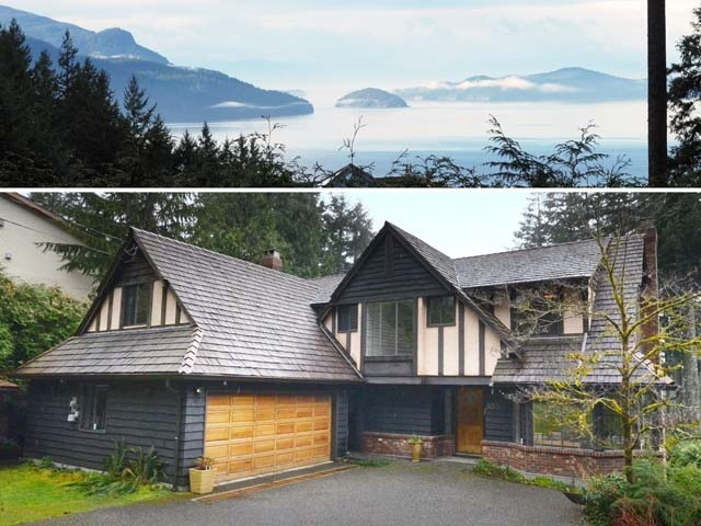 Gorgeous ocean view of the beautiful and mystic Howe Sound.  Private, level backyard and level driveway into this traditional English Tudor mini-mansion.  Quiet cul-de-sac location.  4,536 sq' 3-levels: 5 bedrooms (4 up, 1 down), 3� baths.  Large playroom and recreation room down, double garage plus lots of parking on this 11,661 sq? lot.  Open kitchen with eating area and family room opens to the lovely 618 sq? wrap-around deck looking onto the water view.  Electric/wood burning boiler.  8-Zoned hot water radiant heat on all 3 floors.  Current owner has enjoyed this wonderful family home for 27 years.  It?s lovingly cared for and immaculately kept.  A perfect family home, even for 3 generations.