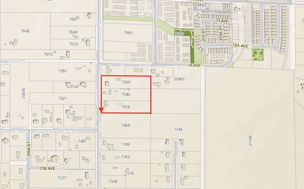 DEVELOPER AND INVESTOR ALERT! 3 huge 2.5 acre lots ready to go. 7560, 7540 and 7518 208th Street, MLS# R2192784, R2192794 & R 2192878 in the heart of Willoughby ready for your development. Totals 7.51 acres of land ready to be re-zoned into townhouse, residential mixed and commercial use. Part of the Township of Langley, Smith plan.  7560, 7540 and 7518 208th st total 7.51acres of land, lots may be SOLD separately or in conjunction with one another.
