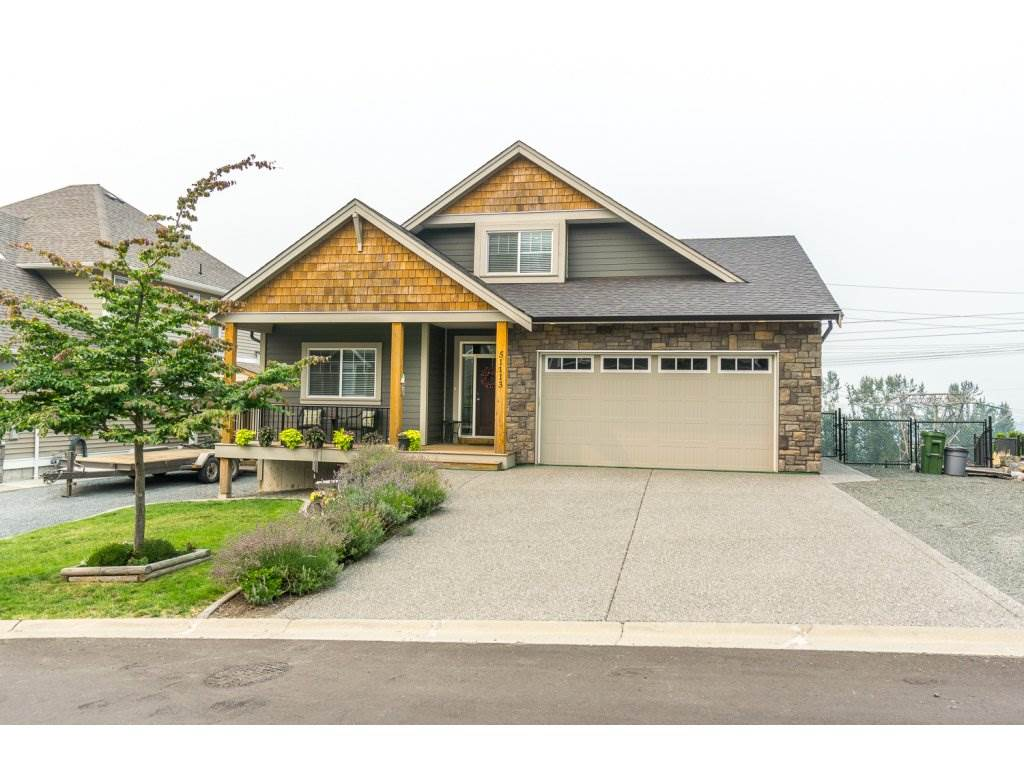 Panoramic view of the Valley! Beautiful home in great subdivision. Master Bedroom and laundry on the main. High vaulted ceilings, huge windows, and open concept make this home 'bright' and inviting. Lots of off street parking - double garage + room for 5 more vehicles. Steps to Unity Christian school and minutes to downtown Chilliwack.