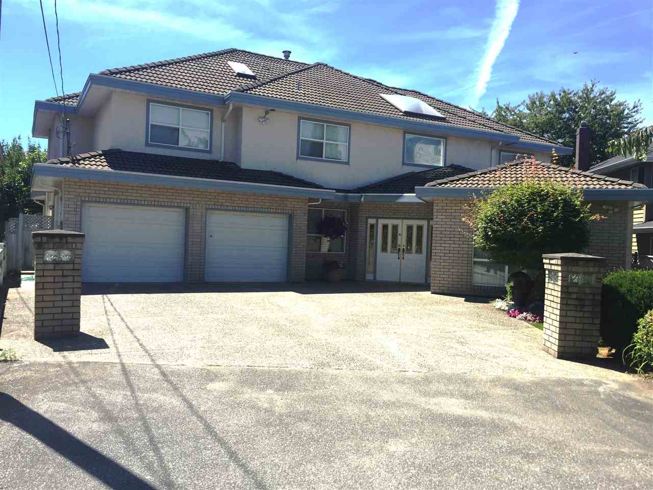 Well-kept 2 level Executive house in desirable Gibbons neighborhood, 6 bedrooms + den + games room, 4.5 baths, over 4500 sq ft living space on huge lot 8381 sq ft., Many features including radiant heat on both floors, granite entrance, kitchen with wok kitchen, air conditioning in games room and master bedroom, master bedroom with 2 W/I closets, 3 ensuites, 4 skylights, landscaped western backyard with ponds, B/I security camera, alarm, intercom, & vacuum system, 2 staircases, tiled roof, 2 x 6 construction, sauna, 2 car garage. Close to shopping centre, restaurants, Thompson Elementary, Burnett Secondary, Golf Course & the Dyke. All meas. approx. buyer to verify if important.  Open House Saturday 12/9 2:00-4:00 pm