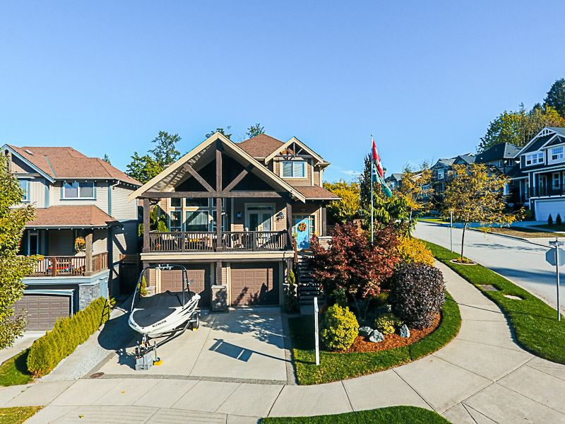 WOW! Rare 'Fraser Plan' with awesome VIEW perched at the top of award winning Silver Ridge! 4 bdrms, 3.5 baths, and finished basement w/nanny suite! Recently updated with brand new laminate hardwood, carpets, paint in/out, white shaker kitchen, heat pump/ac, landscaping, and gorgeous covered fir 15'x15' gazebo in the backyard! Great room style gourmet kitchen w/WOLF stove, granite, and adjoining family room + separate dining/living room w/soaring ceiling + den w/patio to enjoy the views on the main. 3 bdrms + laundry up and finished basement with separate kitchen, custom rock wall theatre room wired for sound, and bedroom/bath. Easy access via Golden Ears Way and now no bridge tolls! Don't miss out on this one!
