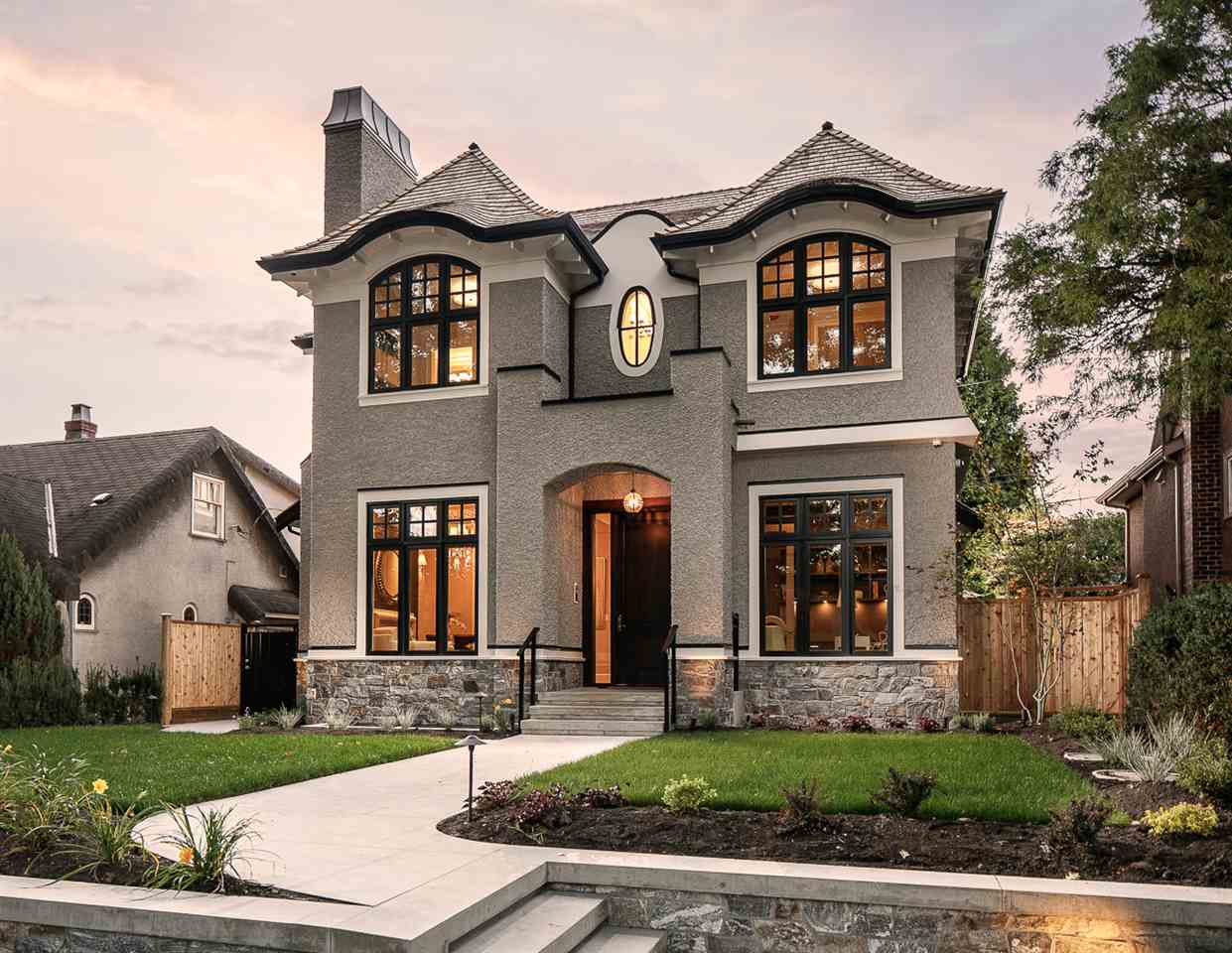 Gorgeous NEW European built MacKenzie Heights contemporary home.   Five BRs, office, rec-rm, familyrm & 7 bathrms.  Soaring 11' ceilings (on the Main) and 10' (down), hardwood floors, A/C, triple garage & fully finished bsmt. Beautiful gourmet kitchen w/ ceiling ht. cabinets, spacious island w/waterfall marble slab counter & prep sink.  Sunny Wok Kitchen with high power fan and plenty of storage.  All your favorite appliances - Wolfe, Sub Zero & Miele.   Close to Balaclava Park, MacKenzie Village shops and transportation to downtown, Airport and UBC.   This is truly a unique home with quality finishing/materials throughout and also includes a 2-5-10 Warranty