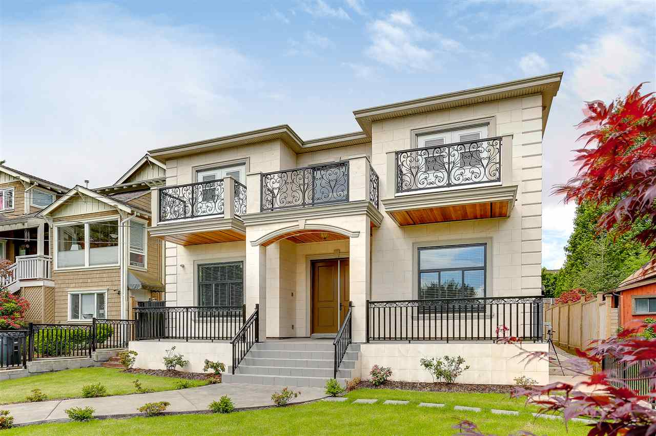 This custom built luxury home is located in the most desirable neighborhood for Forest Glen in South Burnaby, just mins from Metrotown Mall. Gorgeous high ceiling grand foyer showcasing beautiful chandelier leading to formal living room and dining room. Spacious and bright, 4,620 sqft home featuring total 8 bedrooms & 9 bathrooms. Upper floor gives you 4 bedrooms each with a full bath. Open concept kitchen boosting high-end Bosch appliances, quartz counter top and island. The house is quality built with superior finishing and materials. Legal suite in basement plus 2 bedroom full bath & living room. Bonus theater room for your entertainment. AC, HRV, radiant heating, cherry hardwood floor, crown molding,etc. Spectacular city and mountain view. Marlborough Elementary and Moscrop Secondary.