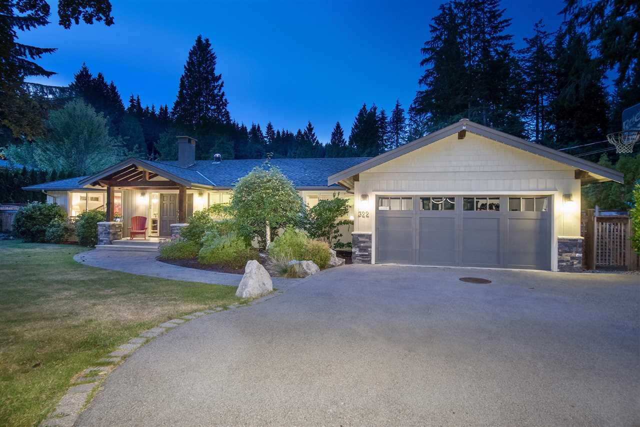 Situated on a sun filled � acre property in the Lower British Properties, is this gorgeous rancher offering approx 2,547 sf of living all on one level. Beautifully renovated, this wonderful home features spacious entertainment areas, formal living & dining areas with stone fireplace, lg picture windows & skylit corridors, hardwood flooring, custom kitchen w/brkfst bar, adjacent family room w/roaring fireplace & media center, built-in custom study are. 4 bdrms including a fabulous Master w/walk-in closet & spa-like ensuite. Separate recreation room - all opening out to a level & fully fenced backyard offering a huge entertainment patio & lush gardens. 2 car garage. Moments to hiking trails, Park Royal, schools and downtown Vancouver. This is exceptional value and must not be missed!