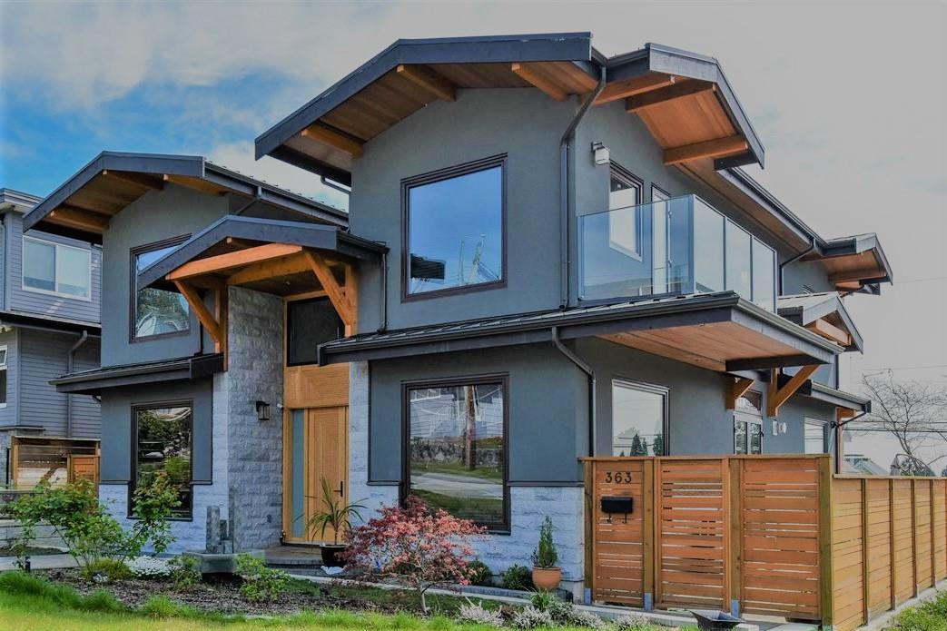 Upper Lonsdale. Brand new luxury house with beautiful ocean & downtown VIEW from the main & upper level. The highest quality of construction & materials. Modern open floor plan with plenty of natural light, floor to ceiling windows, curved wooden staircase, frameless glass railings, 18' entrance hall, 10' on main. Spacious bedrooms all in suite, huge view decks. Walk out daylight basement w/sauna, media room, wet bar & kitchen. High end granite counters, tiles and hardwood. Imported Italian kitchen, bathroom cabinets and doors. Low E German windows. Radiant heat, air condition, heat pumps, jacuzzi, smart home equipment. Subzero & Wolf appliances. Beautiful South facing private corner lot w. up to 10,000 sq ft landcaped area. Expensive granite & clear cedar outside finishing. 3-car garage. Pleasure to show.