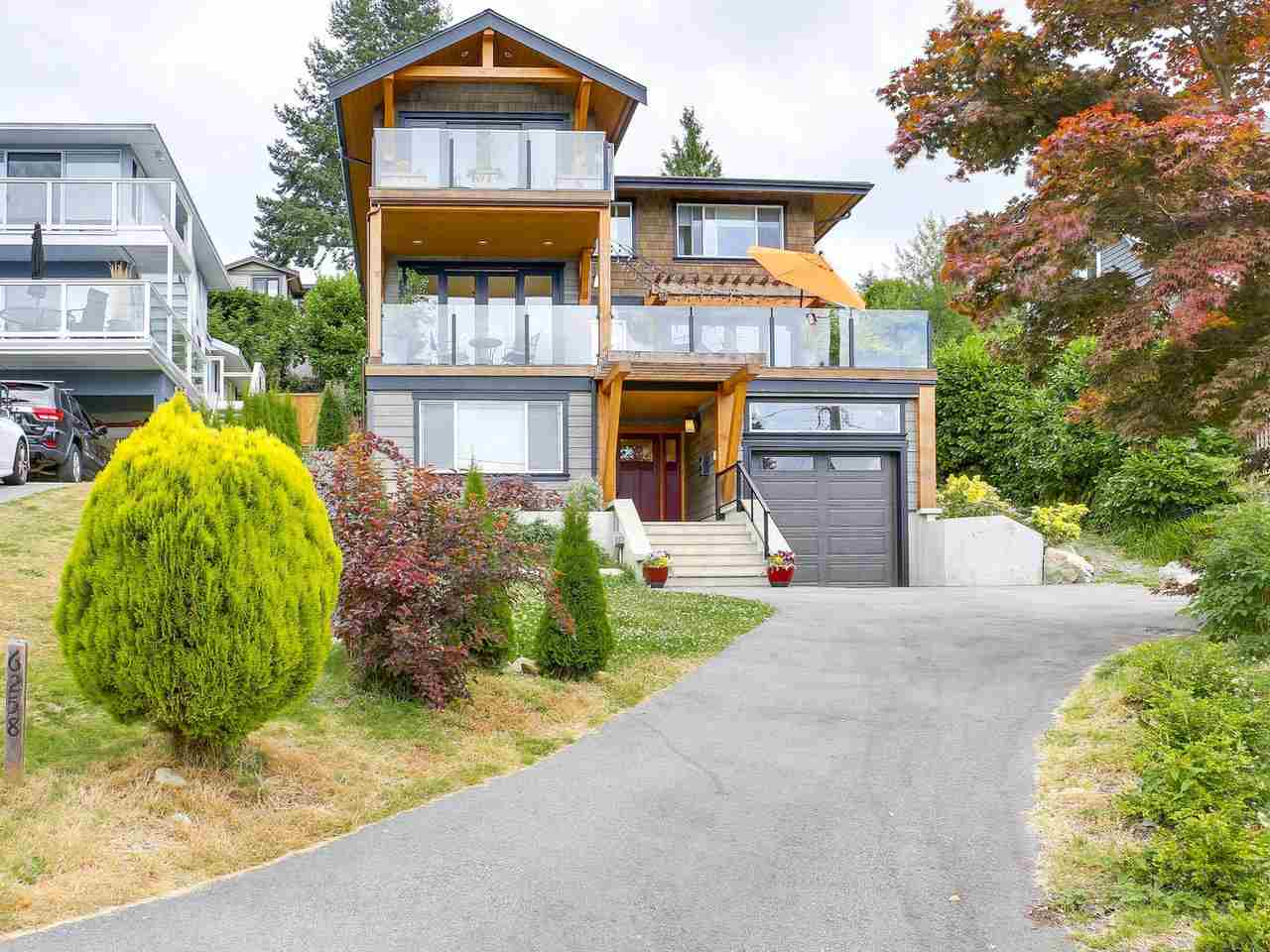 Custom built for the current owners, this home offers the best of everything. Ocean & island views, sunsets off the deck, an open concept main floor & it's located on a quiet cul-de-sac. Completed in 2015 this home is situated at the top of a gently raised lot & looks across to Whytecliff Park and Batchelor Bay. Enter the oversized foyer & you'll find a private, home office, family room, the laundry room & a full bathroom. Upstairs is the heart of the home. A beautiful kitchen opens to the dining area. Around the corner is a large living room & it's all tied together by a huge sun deck that catches the rays until the end of the day. Upstairs is a beautiful master with a large, walk-in closet & spa-like ensuite. The 2 additional bedrooms share a large bath. Walk to everything from this home