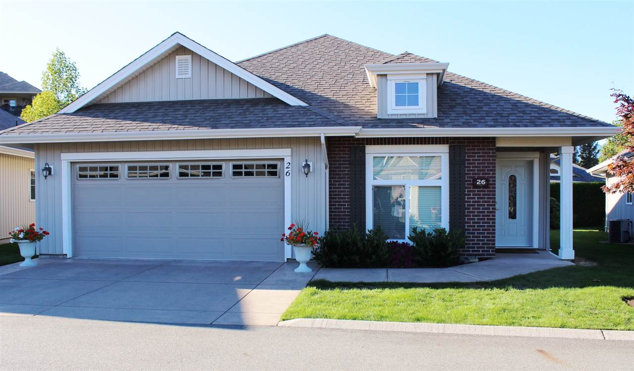 "Beautiful detached rancher with central air conditioning, oak hardwood flooring, 2 bedrooms + den and 3 full baths.  Desirable ""Stevenson Villas"" 55+ gated community vaulted ceilings in great room.  Spacious kitchen with breakfast island.   Huge family room in downstairs.   Big double garage.   Walk to Sardis Park, golfing, Tim Horton?s, Shoppers Drug Mart, Walk-In Clinic and more."