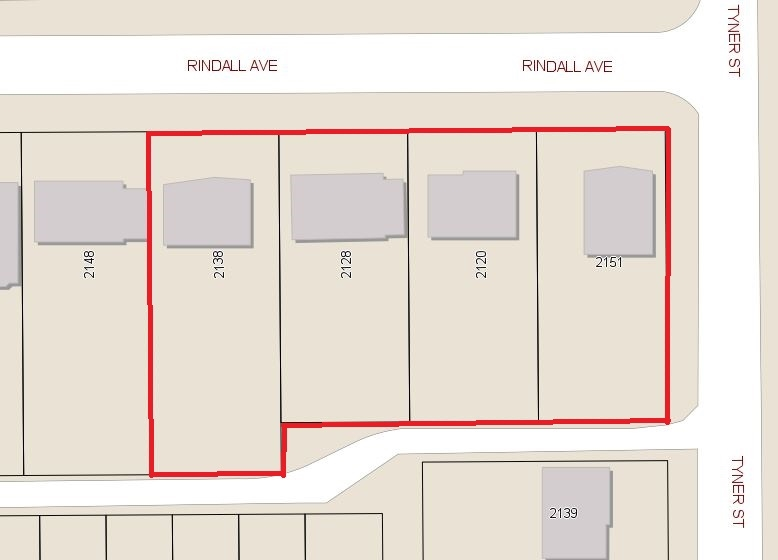 One of the Sellers is a licensed realtor. Properties to be sold in conjunction with 2120, 2128, 2138 Rindall and 2151 Tyner. OCP calls multi- family, corner site with lane access, Total combined site is 38,714.7 S.F. Rental revenue 2% CAP