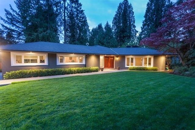 This one of a kind 3 bdrm rancher sits on a beautifully landscaped 15100sf. The open layout, w/ dark hardwood flooring, features a chef's kitchen overlooking the private yard, w/ professional grade appliances & granite countertops. The generously sized sunken l/r has wrap around windows facing the side & front yards, while the secluded deck is the perfect place to relax. Taken down to the studs in 2013, this rebuilt home features new plumbing, electrical, HEF furnace, H/W tank, roof, new windows & doors. Mulgrave Place is an enclave of just 12 homes on a easily accessible & child friendly cul-de-sac, just minutes to Westcot Elementary, Sentinel High School, Collingwood School, Hollyburn & Capilano Country Clubs.