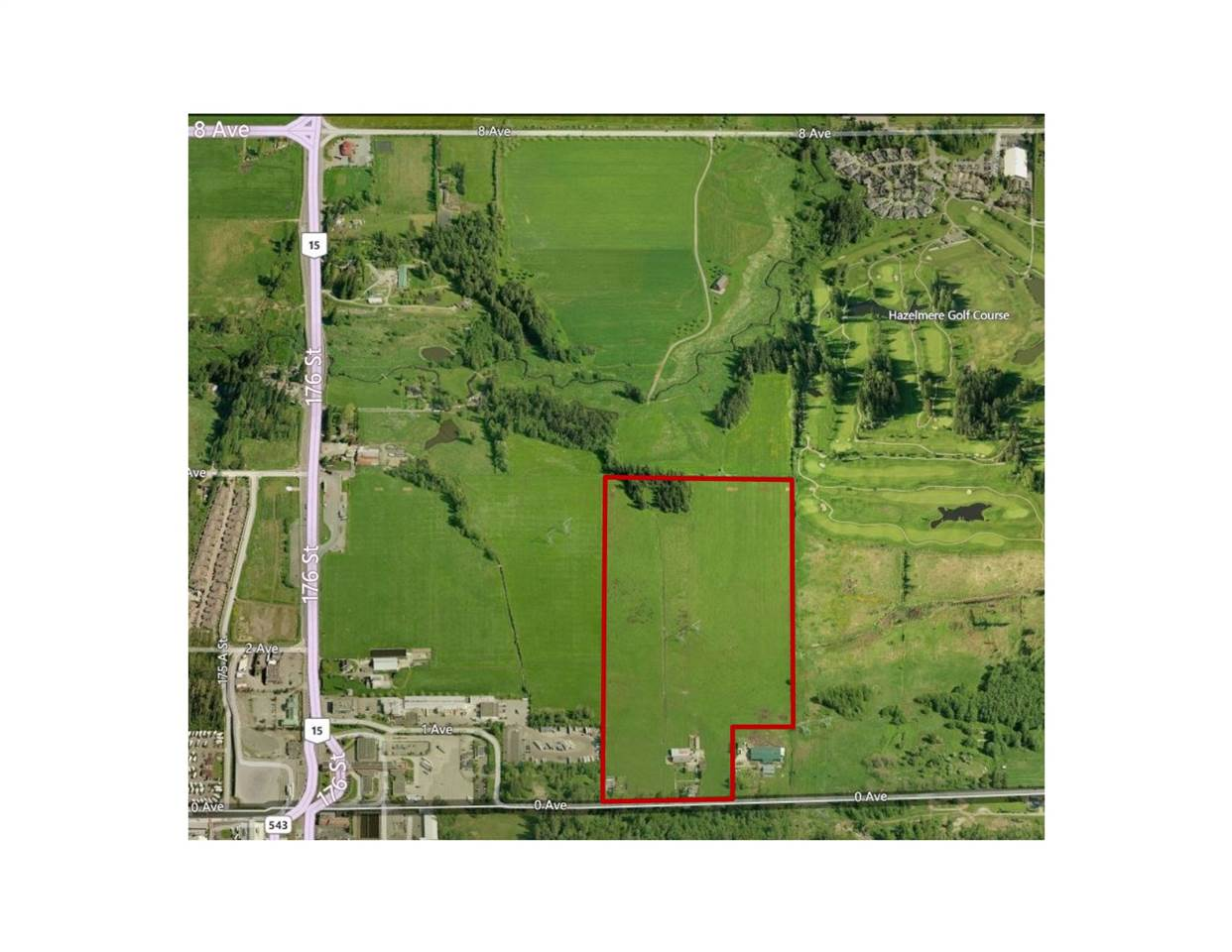 South Surrey opportunity with over 55 acres of agricultural land zoned A1 with two revenue producing homes and out-buildings in Hazelmere Valley. Great holding property in Hazelmere Valley. Great holding property in a developing area near a 136 lot subdivision. Cleared, flat farm land with irrigation. The Seller has completed both Stage 1 and 2 environmental studies. Drilled well and septic on site. BC Hydro Right of Way with overhead power lines. The property is located in South Surrey, very close to Pacific Highway border crossing on 175th and 0 Avenue. The parcel neighbours commercial property to the west and Hazelmere Golf course to the north east.
