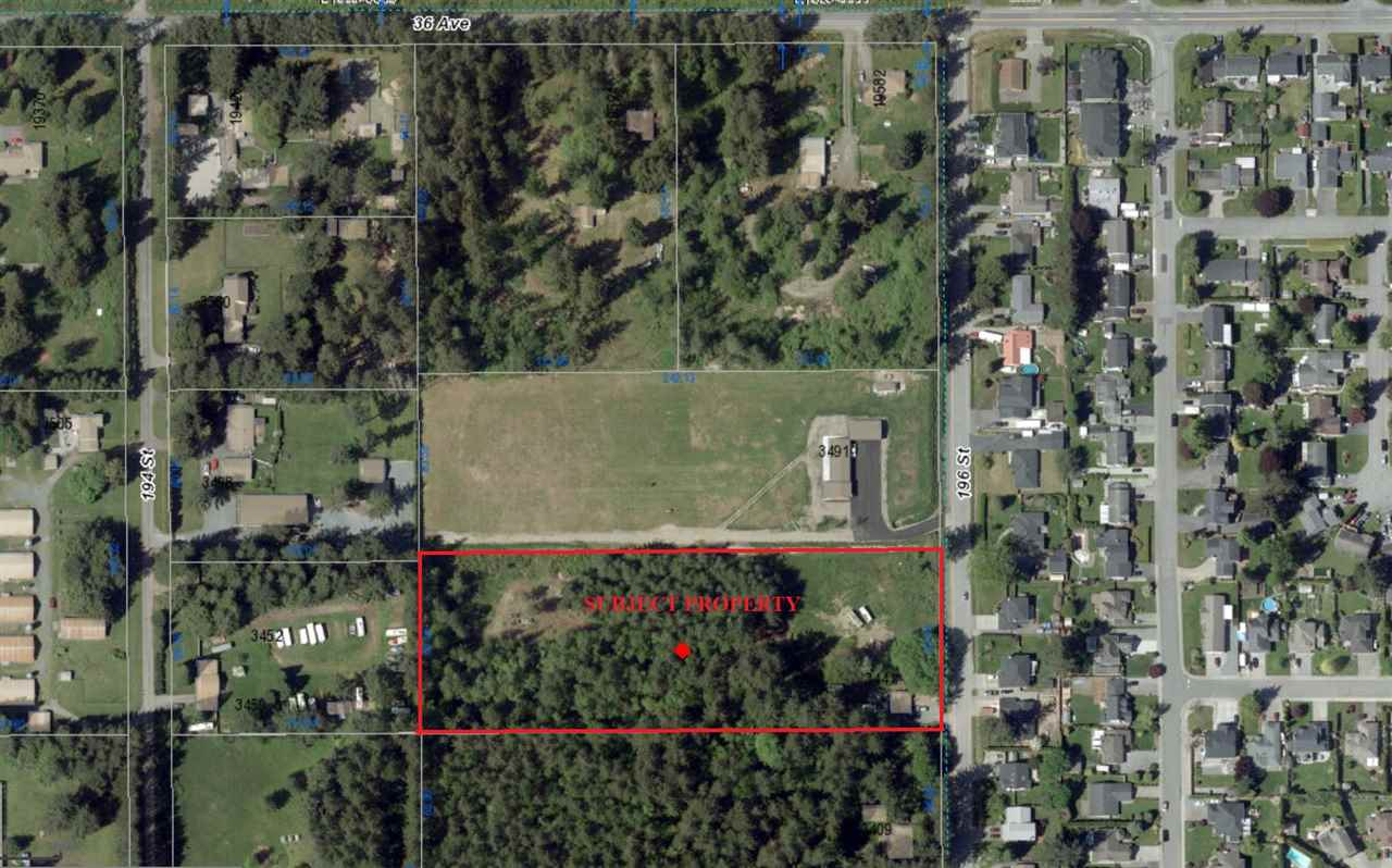 """Investors Alert""-""Campbell Heights Development Property"". 5 acres of flat fully usable dry land with no creeks, out of ALR & designated as Business Park in Campbell Heights Land Use Plan. It will permit rezoning to Industrial Business Park. Land uses within the business park will emphasize high quality industrial uses including a mix of light manufacturing, distribution, warehouse, business office, research and development, and similar uses. There is older house on the property currently rented for month to month tenancy and the house is as-is-where-is condition. Please do not disturb the Tenant. Listed at Land Value only. Showings by appointments only."